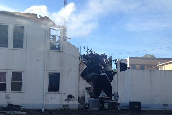 Back side of the Arkansas County Sheriff's Office building after Sept. 23 fire._3561154286668500040