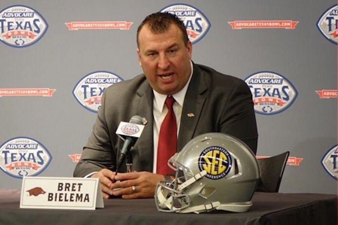UA's Bret Bielema at Texas Bowl news conference._-6918526705743212890