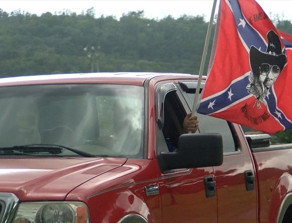 In Russellviile at Old Post Park, people participate in Rebel Ride in support of the Confederate flag._-3711814423694652288