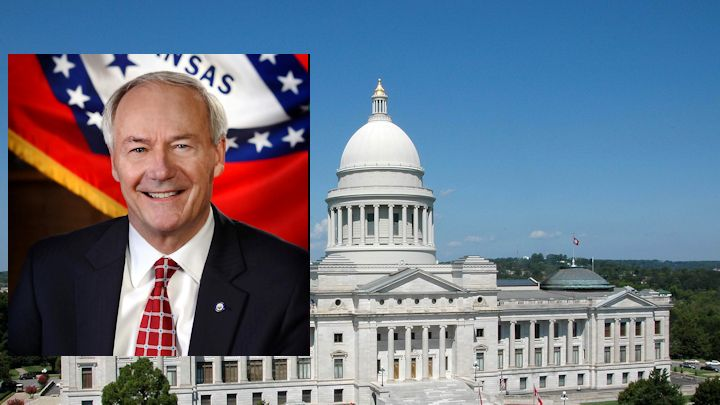 Gov. Asa Hutchinson with State Capitol background