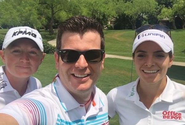 Aaron Nolan with lady golfers Stacy Lewis (at left) and Gaby Lopez.