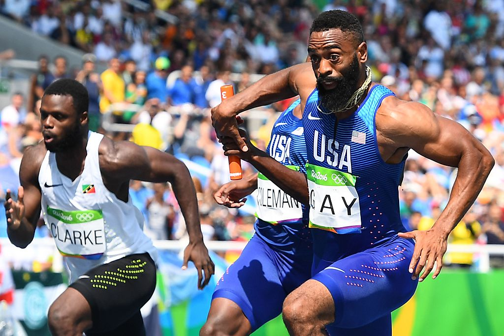 Tyson Gay in the 4x100m relay on Aug. 18
