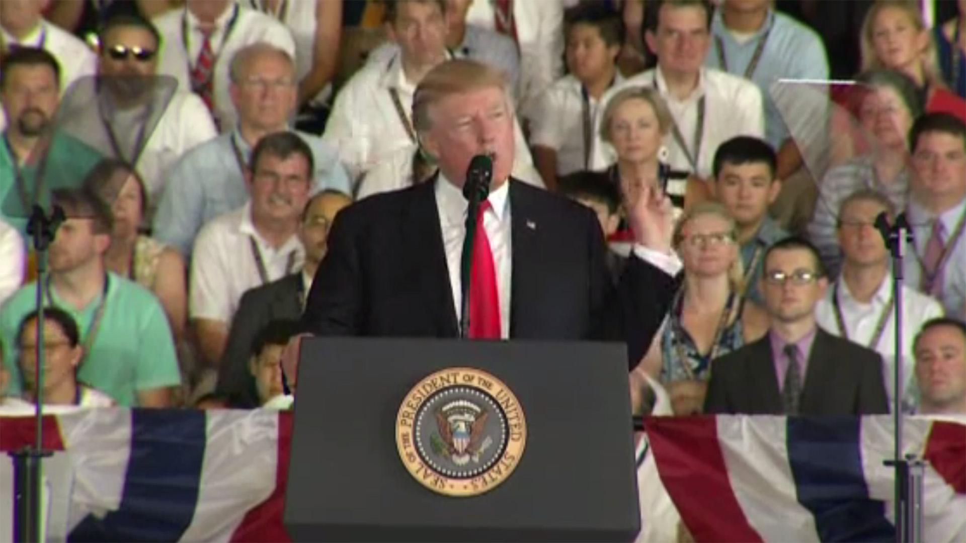 Donald Trump commissioning of USS gerald ford, video screenshot98428415-159532
