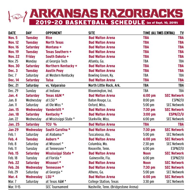 razorback basketball schedule 2020