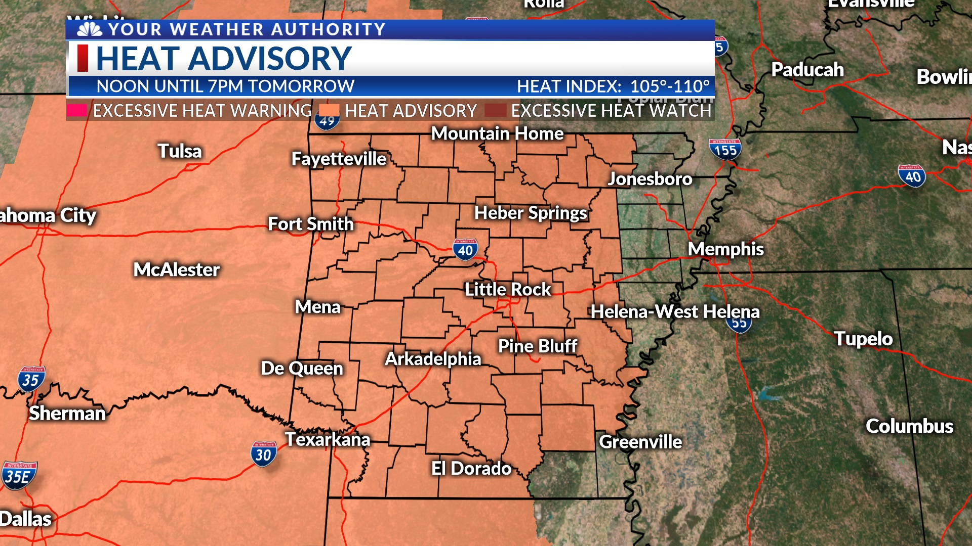 Heat Advisory Issued for Much of Arkansas